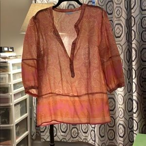 3/4 sleeve coral tunic